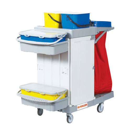 Rokleen Alpha Trolley (2 x 10 litre mop containers 2 shelves lockable compatment) MWATST01L