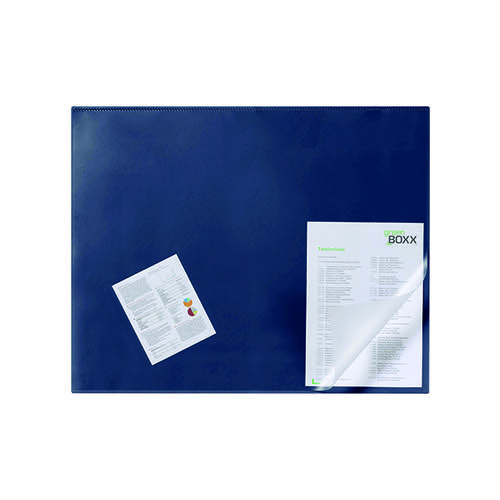 Durable Desk Mat with Transparent Overlay 650 x 520mm Dark Blue 720307