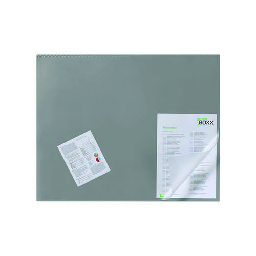 Durable Desk Mat with Transparent Overlay 650 x 520mm Grey 720310
