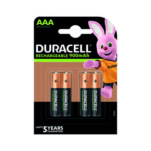 Duracell Stay Charged Rechargeable AAA NiMH 900mAh Batteries (Pack of 4) 81364750