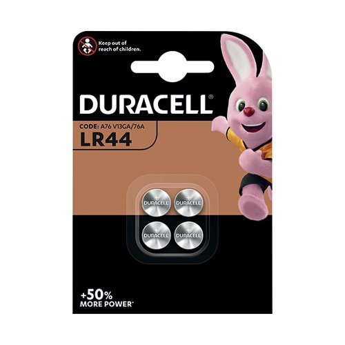 Duracell LR44 Alkaline Button Batteries (Pack of 4) A76/4