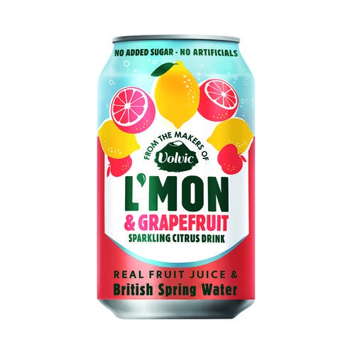 Volvic L'Mon Sparkling Lemon and Grapefruit 330ml (Pack of 12) 145739