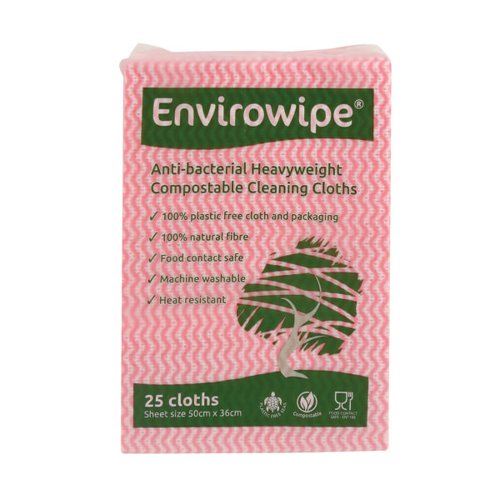 Envirowipe Antibacterial Cleaning Cloths 500x360mm Red (Pack of 25) EWF151