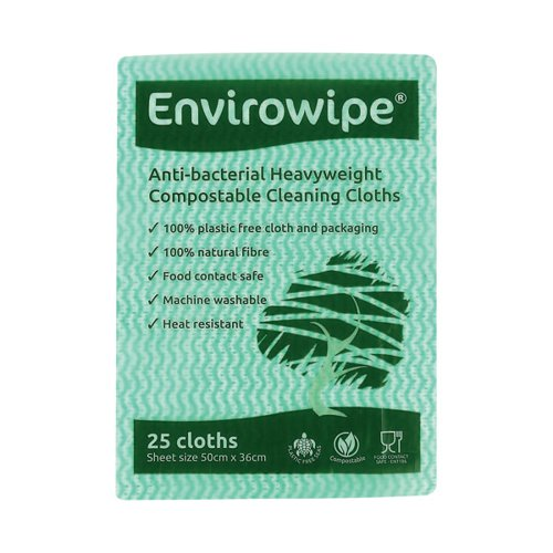 Envirowipe Antibacterial Cleaning Cloths 500x360mm Green (Pack of 25) EWF152