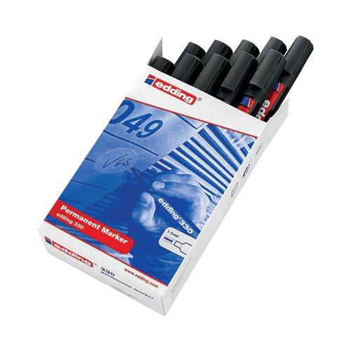 Edding 330 Permanent Chisel Tip Marker Black (Pack of 10) 330-001 ED06297