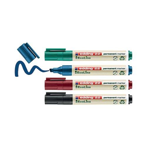 Edding E-22/4 EcoLine Permanent Marker Assorted (Pack of 4) 4-22-4