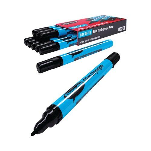 Show-me Drywipe Marker Fine Tip Black (Pack of 10) FPSDP