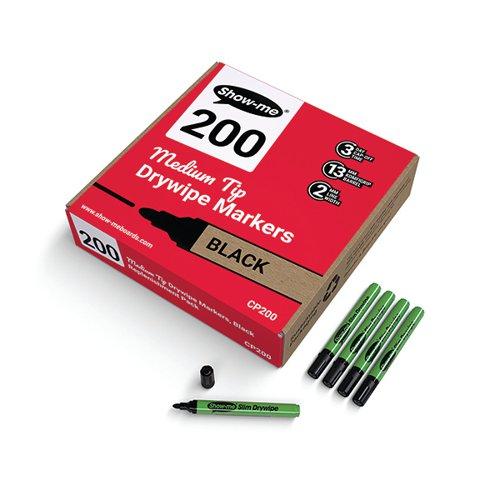 Show-me Drywipe Marker Medium Tip Slim Barrel Black (Pack of 200) CP200