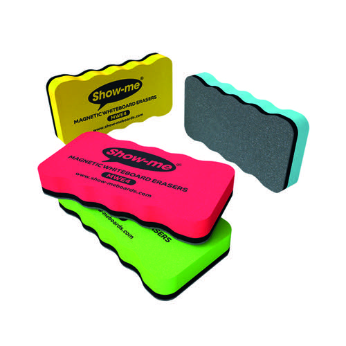 Show-me Magnetic Whiteboard Eraser Assorted (Pack of 4) MWE4