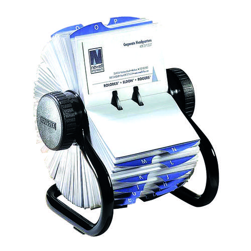 Rolodex Classic 200 Rotary Card File Black (Includes 200 sleeves for up to 400 cards) 67236