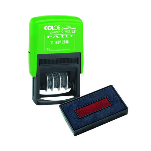 COLOP Green Line Date Stamp PAID Plus Free Ink Pad EM813724