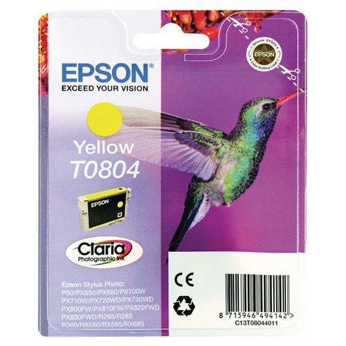 Epson T0804 Yellow Inkjet Cartridge C13T08044011 / T0804