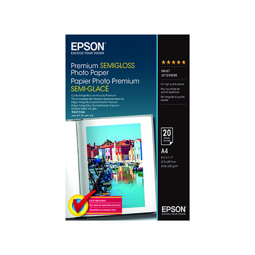 Epson A4 Premium Semi-Gloss Photo Paper (Pack of 20) C13S041332