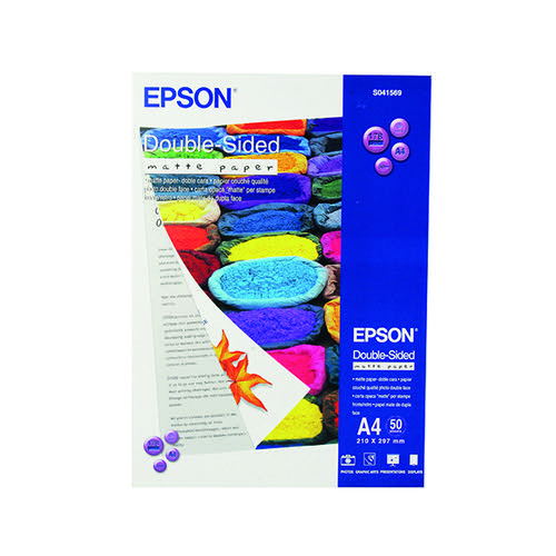Epson Double-Sided Matte A4 Photo Paper Heavyweight (Pack of 50) C13S041569