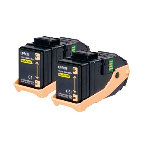 Epson S050606 Yellow Toner Cartridge Twin Pack (Pack of 2) C13S050606
