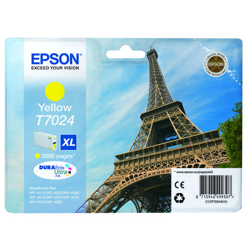 Epson T7024 High Yield Yellow Inkjet Cartridge C13T70244010 / T7024