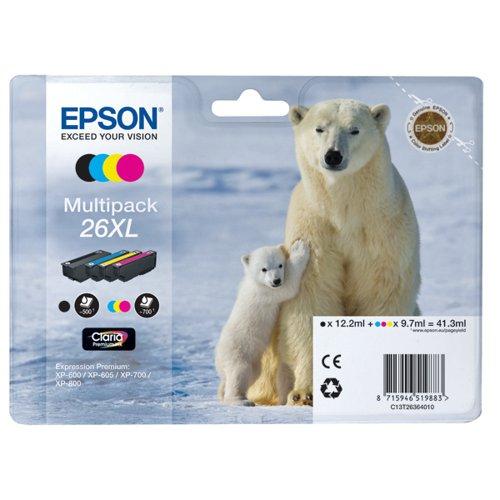 Epson 26XL Black /Cyan/Magenta/Yellow High Yield Inkjet Cartridge (Pack of 4) C13T26364010 / T2636