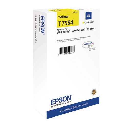 Epson T7554 XL Yellow High Yield Ink Cartridge C13T755440 / T7554