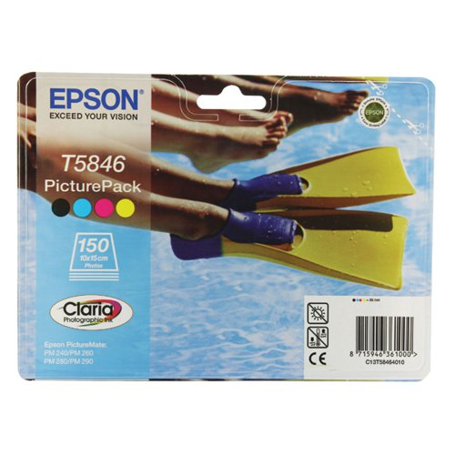 Epson T5846 Black /Cyan/Magenta/Yellow Inkjet Cartridges Pk4 Plus Photo Paper C13T58464010 / T5846