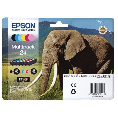 Epson 24 6-Colour Inkjet Cartridge Multipack (Pack of 6) C13T24284011