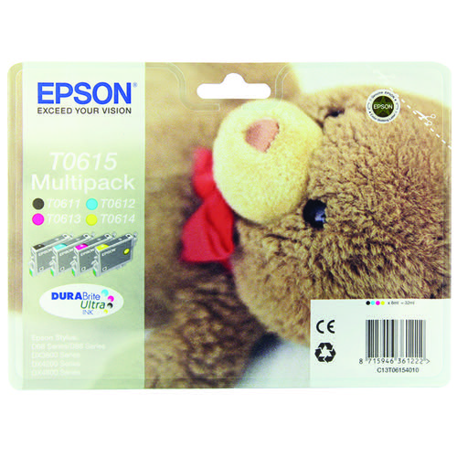 Epson T0615 Black /Cyan/Magenta/Yellow Inkjet Cartridge (Pack of 4) C13T06154010 / T0615
