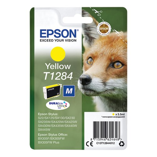 Epson T1284 Yellow Inkjet Cartridge (Capacity: 260 pages) C13T12844012