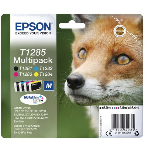 Epson T1285 Black/Cyan/Magenta/Yellow and Inkjet Cartridges (Pack of 4) C13T12854012