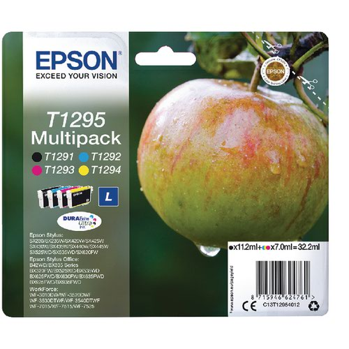 Epson T1295 Black/Cyan/Magenta/Yellow Ink Cartridge (Pack of 4) C13T12954012