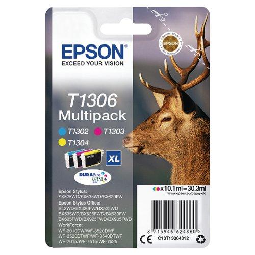 Epson T1306 Cyan Magenta Yellow XHY Cartridge (Pack of 3) C13T13064012