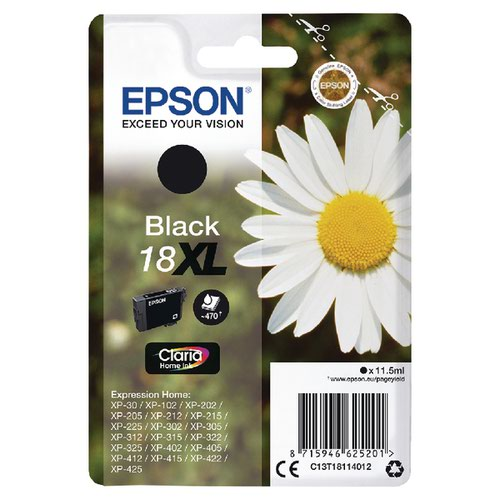 Epson 18XL Black Inkjet Cartridge C13T18114012
