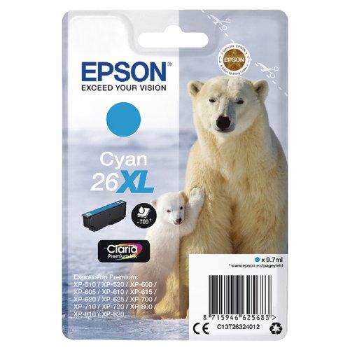 Epson 26XL Cyan Inkjet Cartridge C13T26324012