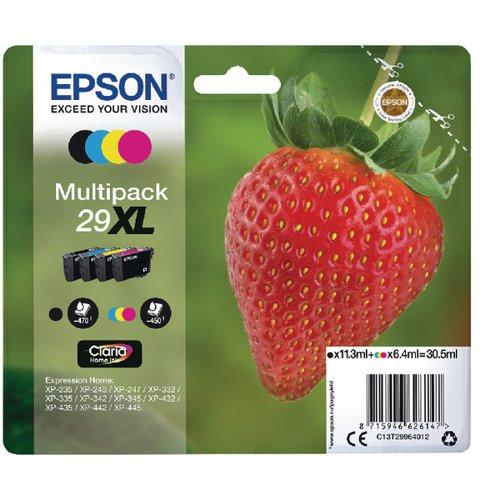 Epson 29XL Black Cyan Magenta Yellow Ink Cartridge Value (Pack of 4) C13T29964012