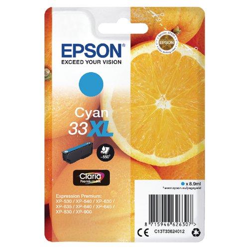 Epson 33XL Cyan Inkjet Cartridge C13T33624012