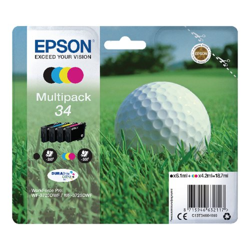 Epson Singlepack 4 Colour 34 DURABrite Ultra Ink C13T34664010
