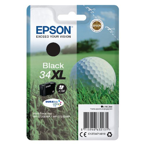 Epson Singlepack Black 34XL DURABrite Ultra Ink C13T34714010