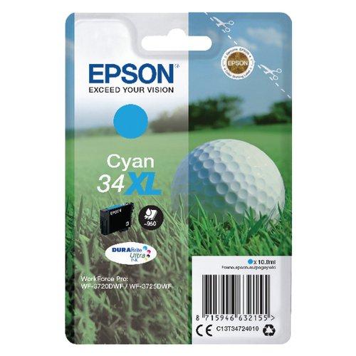 Epson Singlepack Cyan 34XL DURABrite Ultra Ink C13T34724010
