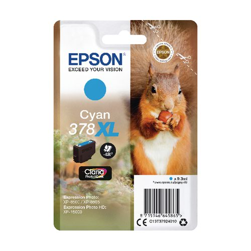 Epson 378XL Cyan Photo HD Inkjet Cartridge C13T37924010