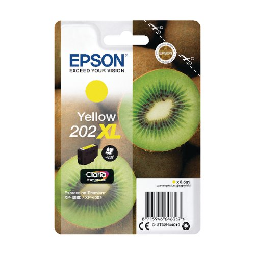 Epson 202XL Yellow Inkjet Cartridge (Capacity: 650 pages) C13T02H44010
