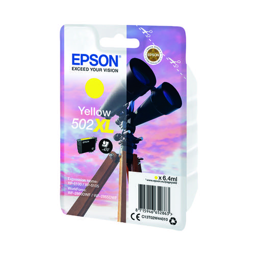 Epson Singlepack 502XL Ink Yellow C13T02W44010