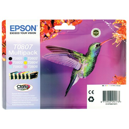 Epson Black /Cyan/Magenta/Yellow/Light Cyan/Light Magenta Photo Ink Value C13T08074011 / T0807