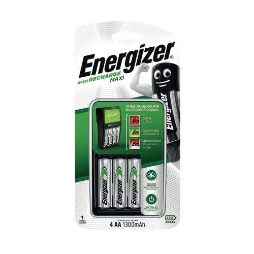 Energizer Maxi Battery Charger 4x AA Batteries 1300 Mah UK 633151
