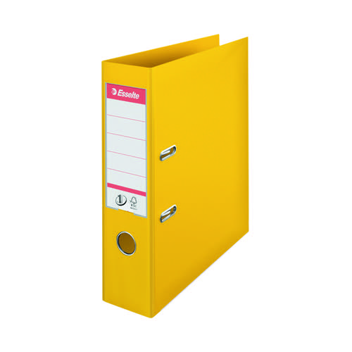 Esselte No1 Lever Arch File Slotted 75mm A4 Yellow (Pack of 10) 811310