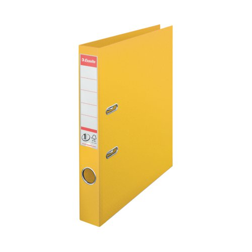 Esselte No1 Plastic Lever Arch File 50mm A4 Yellow (Pack of 10) 811410