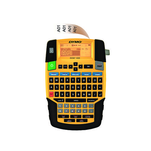 Dymo Rhino 4200 Label Maker QWERTY 19mm Yellow PB1 UK 1801611