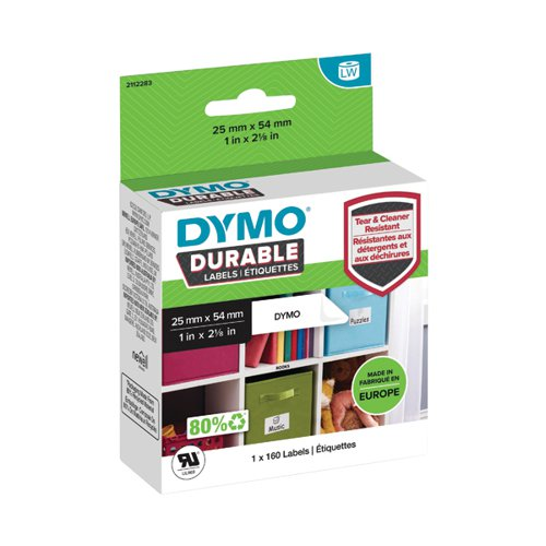 Dymo Durable Multipurpose Labels 25x54mm White 160 Labels 2112283