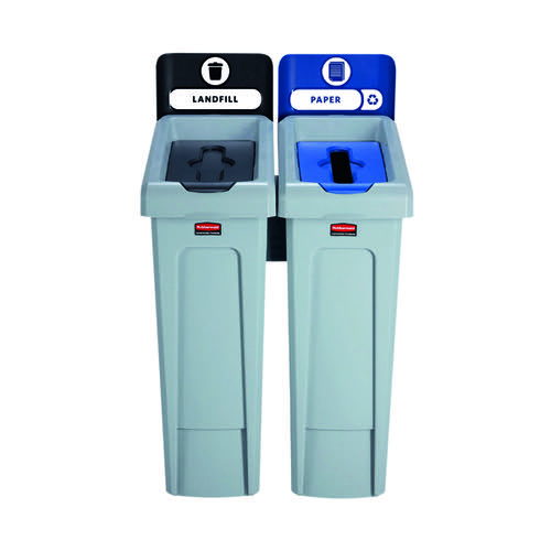 Rubbermaid Slim Jim 2 Stream Recycling Station Black/Blue 2057605