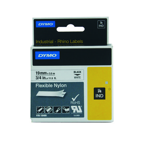 Dymo 18489 Rhino Nylon Tape 19mm x 3.5m Black on White S0718120