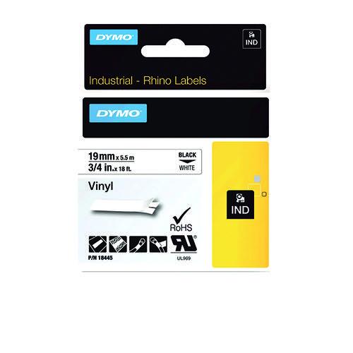 Dymo 18445 Rhino Black on White Label Printer Tape 19 mm S0718620