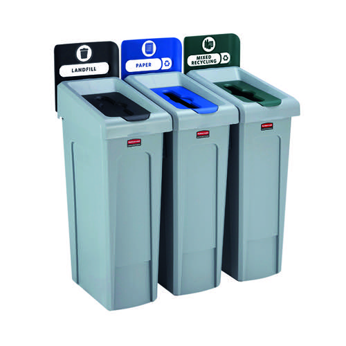 Rubbermaid Slim Jim 3 Stream Black/Blue/Green 2057606