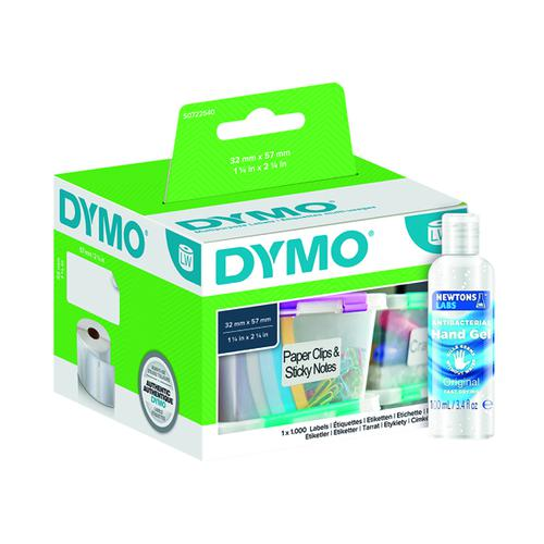 Dymo Multipurpose Labels 32 x 57mm (S0722540) FOC Hand Gel ES810779